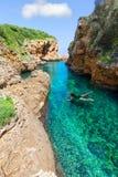 SAlgar beach Cala Rafalet in Menorca at Balearic Islands Stock Images