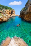 SAlgar beach Cala Rafalet in Menorca at Balearic Islands Stock Photo