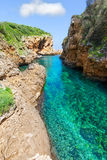 SAlgar beach Cala Rafalet in Menorca at Balearic Islands Royalty Free Stock Images