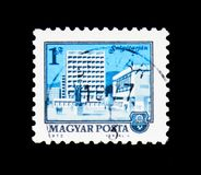 Salgotarjan, serie das arquiteturas da cidade, cerca de 1972 Fotos de Stock Royalty Free