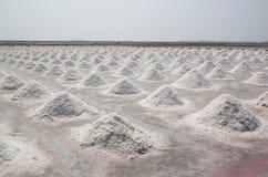 Salgue campos com sal acima empilhado do mar em Tailândia Fotografia de Stock Royalty Free