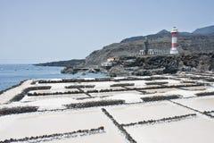 Salgue a extração do mar no La Palma, Spain Foto de Stock Royalty Free