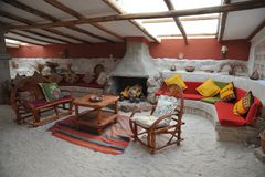 Salgue o hotel para turistas nos planos de sal de Uyuni Fotos de Stock Royalty Free