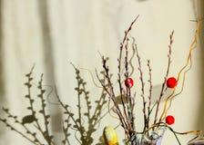 Salgueiro com bolas vermelhas decorativas Imagens de Stock Royalty Free