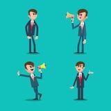 Saliência irritada Diretor Gritaria no megafone Homem de negócio Imagens de Stock