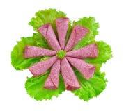 Sali con le foglie verdi della lattuga Immagini Stock Libere da Diritti