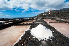Sali gli stagni di evaporazione ed i fari, la La Palma Immagini Stock Libere da Diritti
