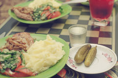 Sali i cetrioli, la patata, la carne fritta, insalata dai cetrioli freschi a Immagini Stock Libere da Diritti