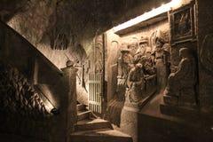 Sali le decorazioni nella miniera di sale di Wieliczka della cappella Fotografie Stock Libere da Diritti