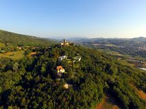 Salice's castle. Aerial view with sunny day of salice's castle situated over the hill Stock Photo