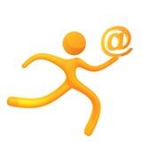 Salida amarilla elástico del email del icono del humanoid Foto de archivo libre de regalías