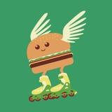 Salida caliente de la comida de la fantasía de la hamburguesa cómica del rodillo Fotos de archivo libres de regalías
