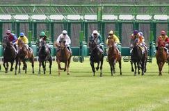 Salida de la carrera de caballos foto de archivo