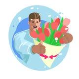Salida de la flor el hombre da las flores frescas hombre brutal en las manos de tulipanes stock de ilustración