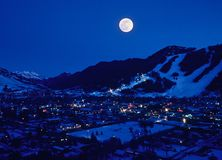 Salida de la luna de Jackson Hole Fotografía de archivo