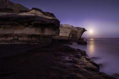 Salida de la luna, islas Canarias imagenes de archivo