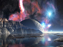 Salida de la luna sobre el lago extranjero Imagen de archivo
