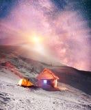 Salida de la luna sobre Goverla Imagen de archivo libre de regalías