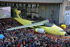 Salida de la planta de fabricación de los nuevos aviones Antonov An-178 del transporte, el 16 de abril de 2015 Fotos de archivo