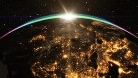 Salida del sol épica sobre horizonte del mundo Imagen de archivo libre de regalías
