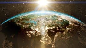 Salida del sol épica sobre horizonte del mundo Fotografía de archivo libre de regalías