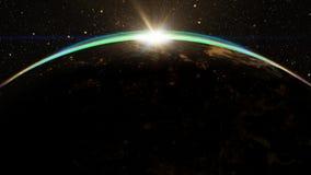 Salida del sol épica sobre horizonte del mundo Fotografía de archivo