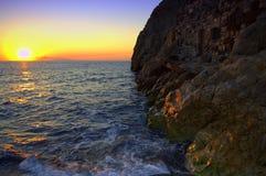 Salida del sol única de Santorini, Grecia Fotos de archivo libres de regalías