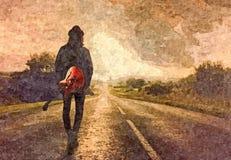 Salida del sol Acuarela mojada de Painting del guitarrista en el papel Arte ingenuo Acuarela del dibujo en el papel libre illustration