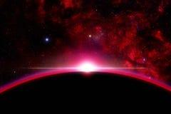 Salida del sol al espacio Fotografía de archivo libre de regalías