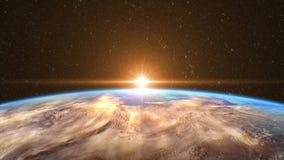 Salida del sol altamente detallada sobre la tierra ilustración del vector