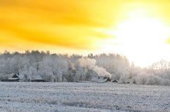 Salida del sol amarilla del cielo Imagen de archivo