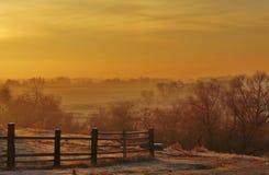 Salida del sol anaranjada Imagenes de archivo