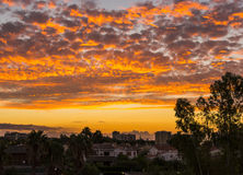 Salida del sol anaranjada foto de archivo