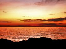 Salida del sol anaranjada hermosa Fotos de archivo libres de regalías