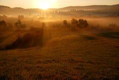 Salida del sol anaranjada hermosa y niebla Foto de archivo