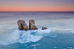 Salida del sol asombrosa del paisaje marino Foto de archivo libre de regalías