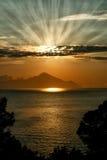 Salida del sol, Athon, Grecia Fotos de archivo libres de regalías