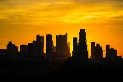 Salida del sol Austin Texas Skyline de la silueta Imagen de archivo