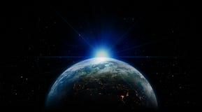 Salida del sol azul de la tierra del espacio ilustración del vector