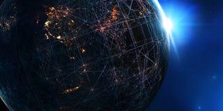 Salida del sol azul, vista de la tierra del espacio libre illustration