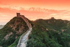 Salida del sol bajo majestad de la Gran Muralla Fotografía de archivo