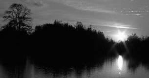 Salida del sol blanco y negro del deslumbramiento en Columbia Maryland los E.E.U.U. Imágenes de archivo libres de regalías