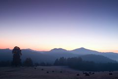Salida del sol brumosa y fría pintoresca en paisaje Primera escarcha en prado de niebla de la mañana Fotos de archivo