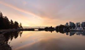 Salida del sol céntrica de Vancouver Fotografía de archivo libre de regalías