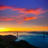 Salida del sol California de San Francisco de puente Golden Gate Fotos de archivo