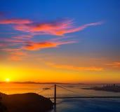 Salida del sol California de San Francisco de puente Golden Gate Imagen de archivo