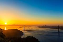 Salida del sol California de San Francisco de puente Golden Gate Fotografía de archivo
