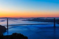 Salida del sol California de San Francisco de puente Golden Gate Foto de archivo libre de regalías