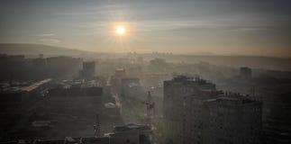 Salida del sol Ciudad de Ereván, Armenia Fotografía de archivo libre de regalías