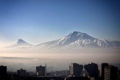 Salida del sol Ciudad de Ereván, Armenia Fotos de archivo